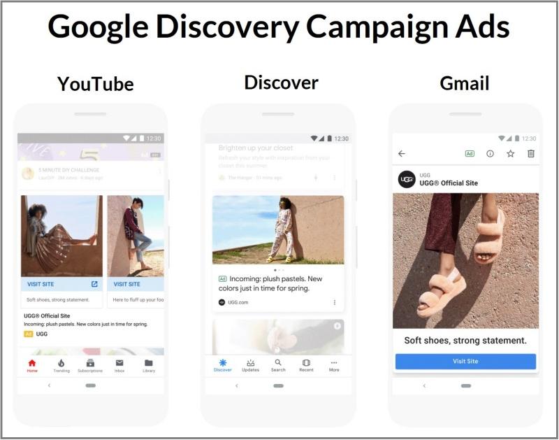 Discovery Ads hiển thị trên YouTube, Discovery và Gmail.
