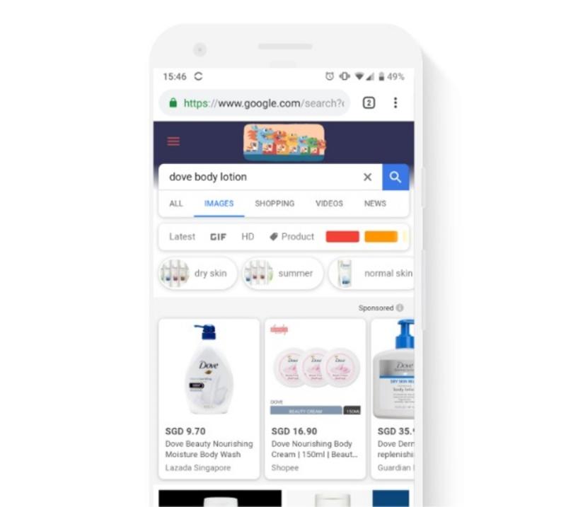 Vớithiết bị di động, hiển thị của quảng cáo Google Smart Shopping
