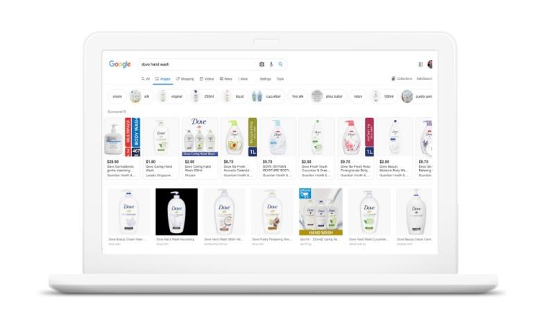 Trên máy tính, hiển thị của quảng cáo Google Smart Shopping