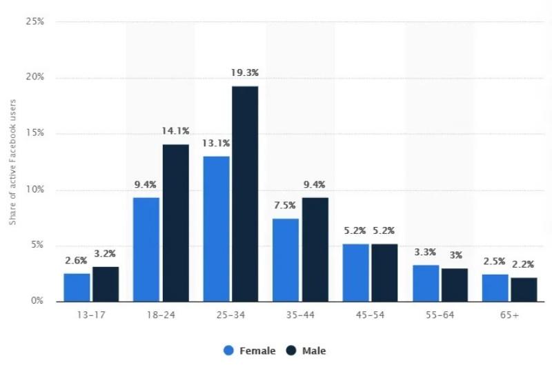 Kết quả rút ra từ nhân khẩu học Facebook năm 2021.