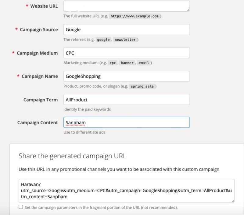 Trình tạo UTM chiến dịch trên trang web Bản demo và công cụ Google Analytics.