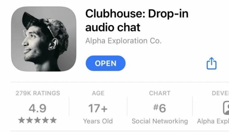 Clubhouse hiện chỉ khả dụng cho người dùng iOS. Ảnh: socialbakers