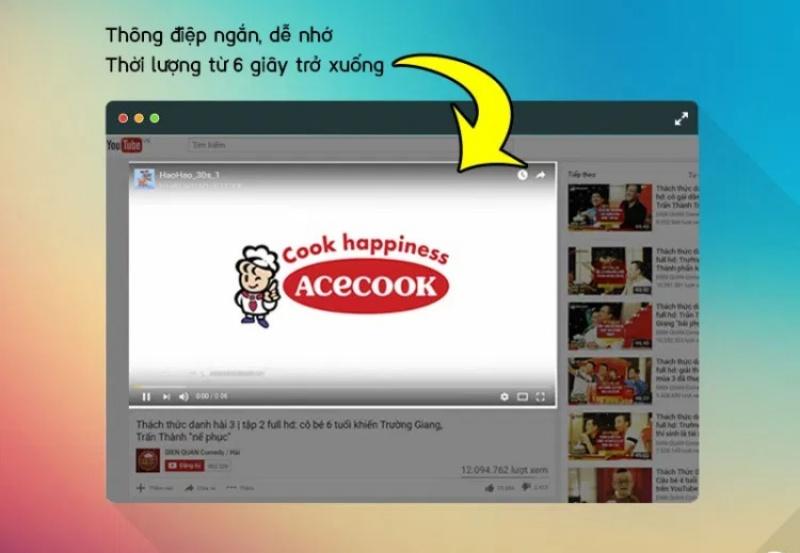 Quảng cáo trên YouTube với thông điệp ngắn gọn, dễ nhớ.
